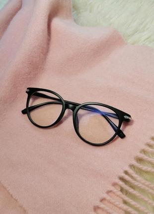 Очки для имиджа круглые, имиджевые, прозрачные, черные без диоптрий