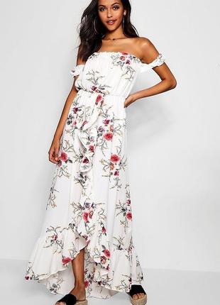 Платье с цветочным принтом boohoo, размер 10
