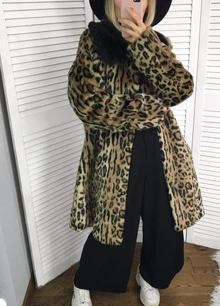 Розкішна леопардова шубка з контрастним воротніком, шок-ціна!!!