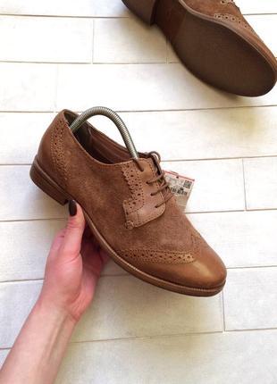 Броги pull&bear, кожаные оксфорды, туфли, замшевые