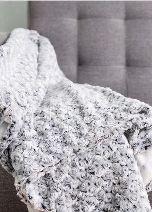 Плед 140x200 см серого цвета кучерявый барашка кучеряшка