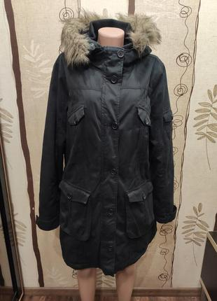 Cecilia classics чёрная утепленная парка, удлиненная куртка