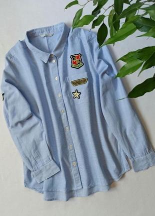 Хлопковая рубашка в полоску с нашивками