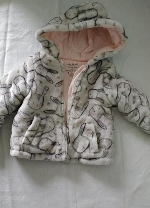 Курточка теплая пушистая 3-6-9 мес