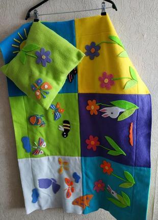 Детский комплект одеяло и подушка, с апликацией!