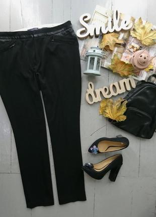 Актуальные укороченные прямые брюки с кожзамом №338 marks & spencer