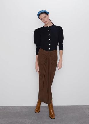 Кардиган zara с объёмными рукавами в винтажном стиле