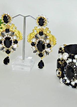 Серьги и браслет в стиле барокко.