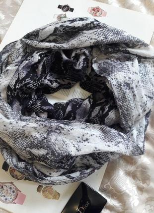 Оригинальный двойной шарф хомут снуд express принт серебряный питон 218/69