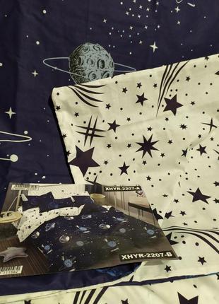 Хлопковое постельное белье космос из ткани ранфорс в подарочной упаковке1 фото