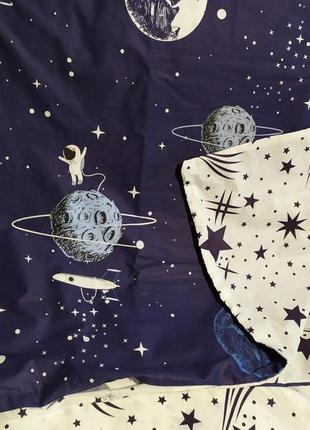 Хлопковое постельное белье космос из ткани ранфорс в подарочной упаковке2 фото