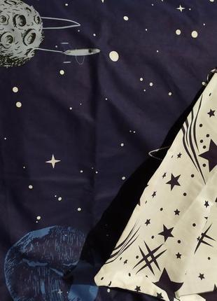 Хлопковое постельное белье космос из ткани ранфорс в подарочной упаковке4 фото