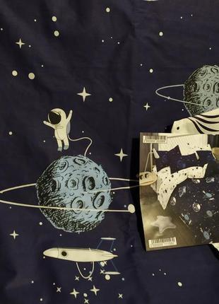 Хлопковое постельное белье космос из ткани ранфорс в подарочной упаковке5 фото