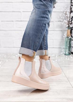 ❤ женские пудровые весенние деми кожаные ботинки полусапожки ботильоны на байке ❤