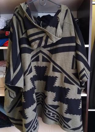 Кардиган пончо бохо накидка с капюшоном цвета хаки с этно орнаментом4