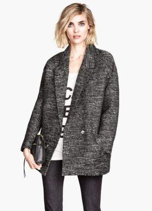 Двубортное пальто h&m  бойфренд пальто ёлочка