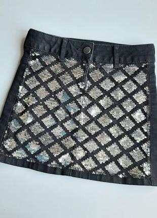 Джинсовая юбка с паетками
