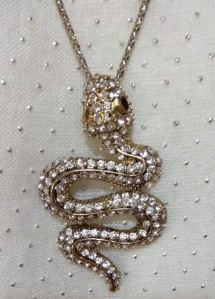Кулон змея, плюс цепочка, элитная европейская бижутерия цвета потемневшего серебра, винтаж