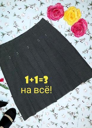 🎁1+1=3 стильная плотная черная короткая юбка со складками dickins&jones, размер 46 - 48