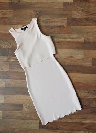 Стильное молочного цвета платье размер xs