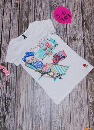 Фирменная футболка next для девочки 5-6 лет, 110-116 см