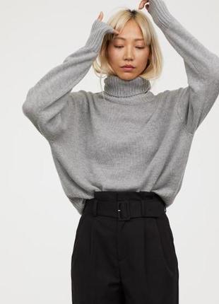 Трендовый меланжевый свитер гольф в стиле casual h&m р.м(38)новый!тренд сезона!