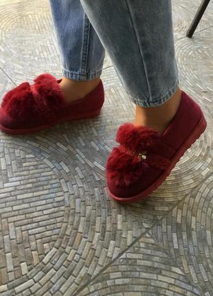 Sale бордовые красные тёплые зимние мокасины угги тапки ботинки