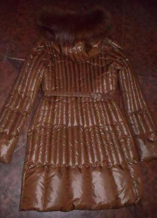 Роскошное комфор.натуральное пальто-пуховик bolnyss,мех песец,оригинал