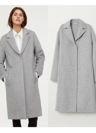 Серое шерстяное пальто,кашемировое пальто миди