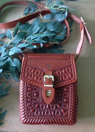 Кожаная сумка ручной работы рыжая
