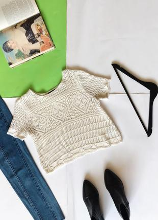 Женская ажурная блуза футболка белая topshop 🔻🔻🔻