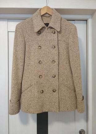 Твидовое шерстяное пальто от max mara woolmark