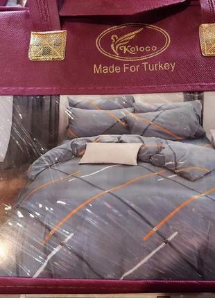 Полуторный/ двуспальный комплект турецкого постельного белья в чемодане