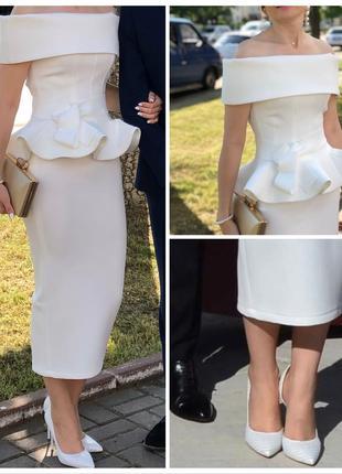 Шикарный молочный костюм-платье