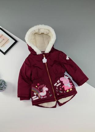 Тёплая куртка пеппа, единорог nutmeg на 1-1.5 года/86 см