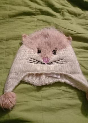 Теплая шапочка кошечка