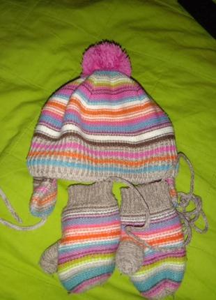 Комплект шапочка и рукавички  68-74