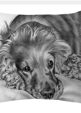 Наволочка декоративная лен на подушку 45х45 см собака спаниель застежка-молния