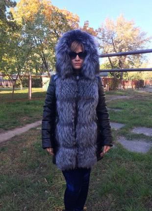 Женская куртка трансформер из натуральной кожи и меха чернобурки