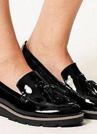Туфли женские лоферы лаковые черные m&s marks & spencer insolia (размер 38-38,5, uk 5½d)
