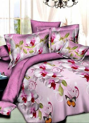 Хлопковое постельное белье орхидеи на розовом в подарочной упаковке