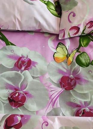Хлопковое постельное белье орхидеи на розовом в подарочной упаковке2 фото