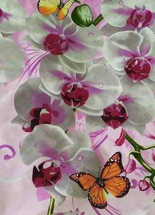 Хлопковое постельное белье орхидеи на розовом в подарочной упаковке3 фото