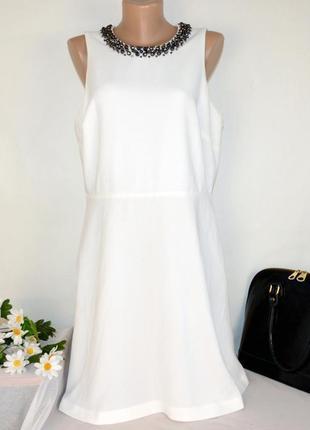 Брендовое вечернее миди платье m&s limited edition цвет айвори бусины #розвантажуюсь