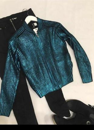 Шикарный яркий вязаный свитер h&m