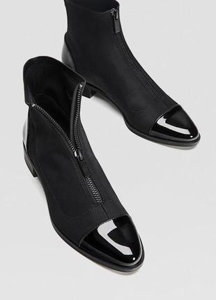 Плоские ботильоны ,ботинки с молнией stradivarius
