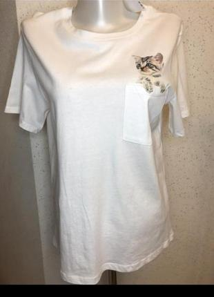 Белая хлопковая футболка с принтом h&m