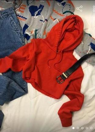 Красное худи укороченное короткое топ с капюшоном