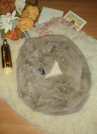 Шикарний ніжний мягенький шарф-снуд-хомут  y&d accessori мех-травка пісочний колір