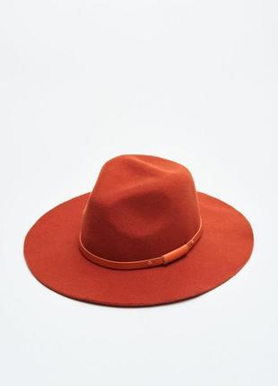 Оранжевая шляпа с тесьмой новая с биркой
